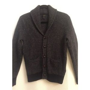 J Crew Lambswool Textured Shawl Collar Cardigan